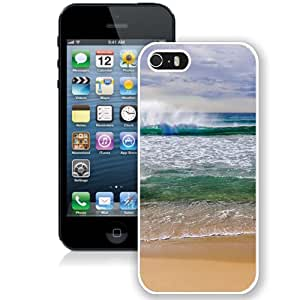 Fashionable And Unique Designed Cover Case For iPhone 5 5S With Beach Waves Splashing_White Phone Case