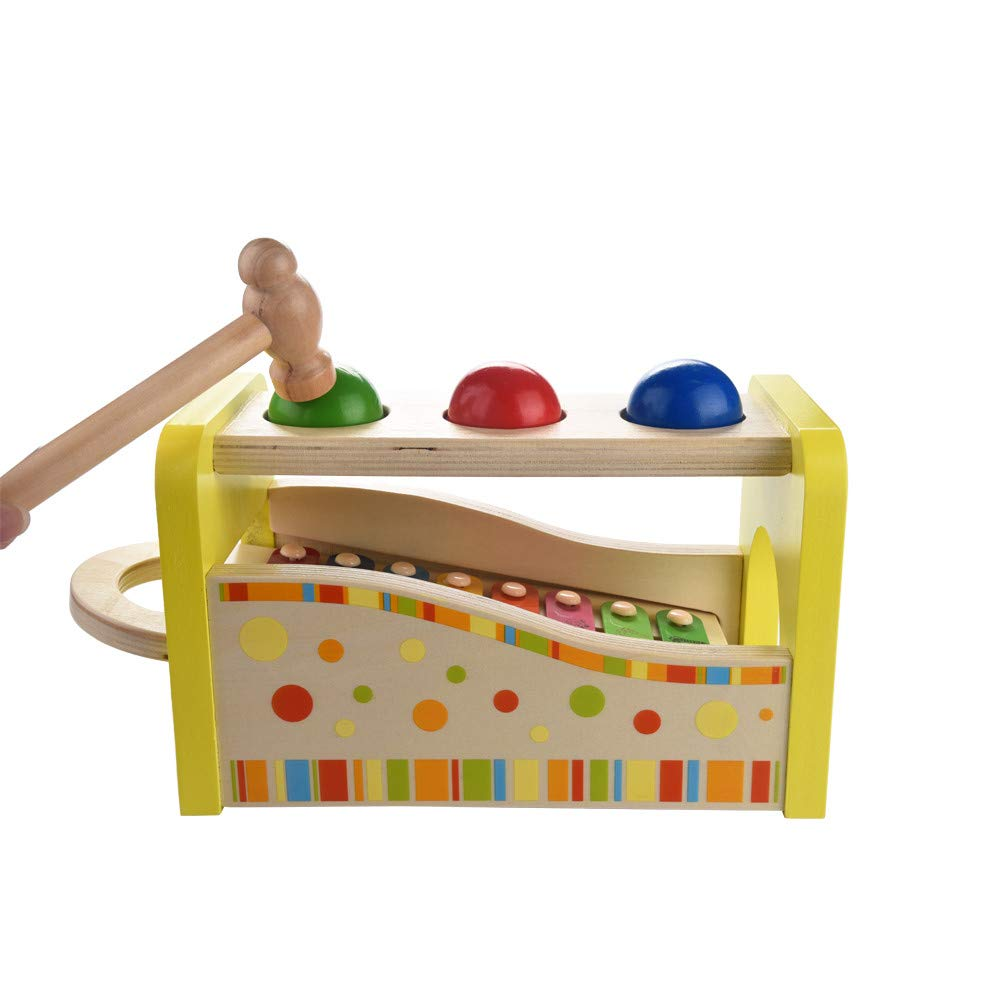 Blueseao Wooden Hammering & Pounding Toys + 8 Notes Xylophone + Shape Color Recognition Wooden Musical Pounding Toy for Toddlers