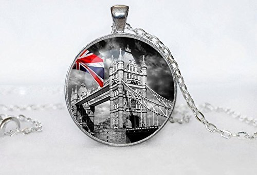 London Pendant London Necklace Black Grey White Necklace for Men Women Art Gift -
