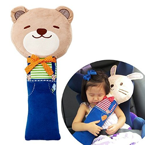 Cute Doll Car Seat Strap Belt Cushion Cover for Kids Children, Adjustable Pillow Pad Vehicle Car Safety Belt Toy Pet Protect Shoulder Chest Child (Bear)