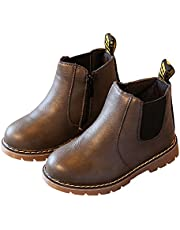 LINKEY Toddler Girls Chelsea Boots Side Zip Flat Ankle Boots with Elastic Side Tabs