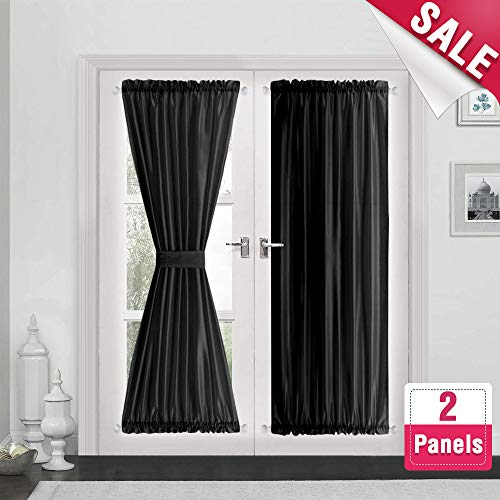 French Door Curtain Panels 72 inches Long Curtains for French Doors Faux Silk Dupioni French Door Panels Privacy, Black, 2 Panels, Tiebacks Included