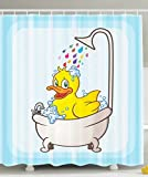 Kids Shower Curtain Nursery Animal Bathroom Decorations by Ambesonne, Yellow Rubber Duck Taking Bubble Bath in Bathtub, Polyester Fabric Bathroom Shower Curtain Set with Hooks, Yellow Blue White
