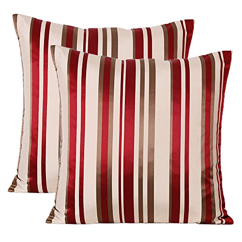 Jahosin Throw Pillow Cases Red Stripe Design,Set of 2 Decorative Noble Double Sided Jacquard Cushion Cover 18 X 18 Inches (Red Stripe) ()