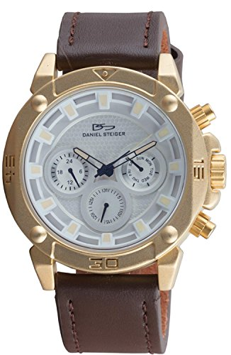 Daniel Steiger Warrior Gold Men's Watch - Yellow Gold Edition - Brown Leather Band - Day, Date & 24 Hour Quartz Movement - Blue Tinted Crystal