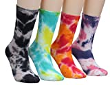 4 Pairs Unisex Vintage Multicolor Breathable Cotton Crew Socks 5-9 WS28 (Tie Dye)