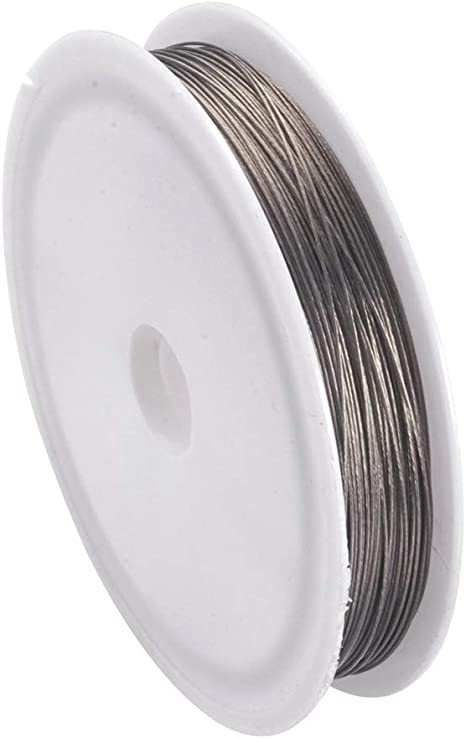 Grey Tiger Tail Thread Beading Wire 0.38mm 50m Roll for jewellery sewing