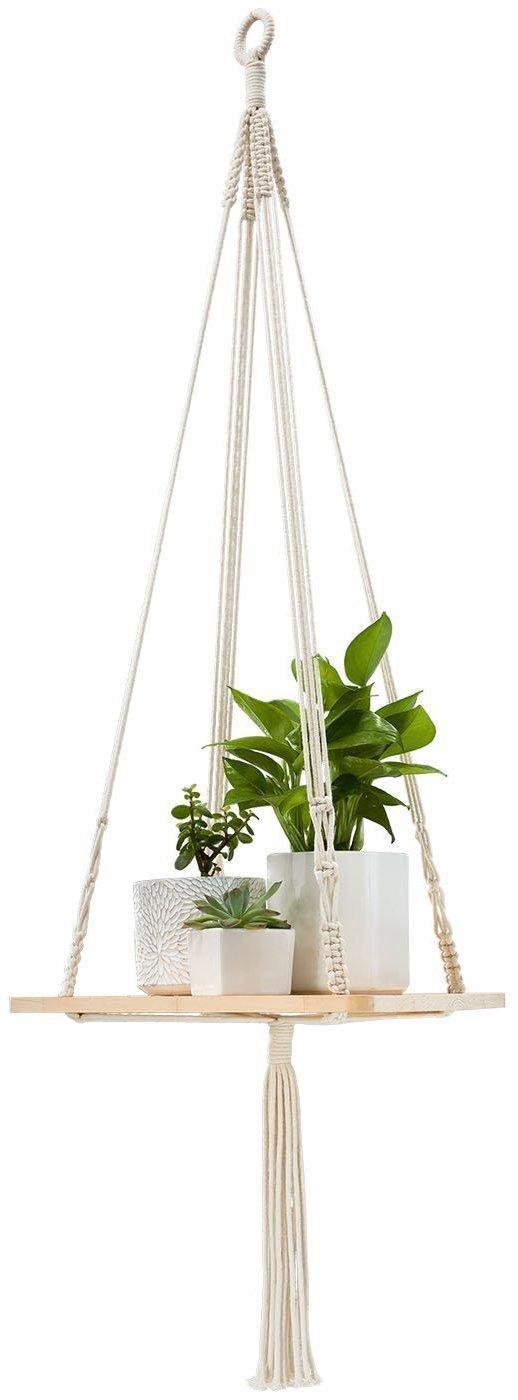 Mkouo Macrame Shelf Plant Hanger Indoor Hanging Planter Basket Holder 45 Inch