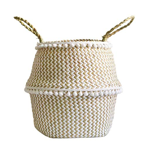 fantasticlife06 Seaweed Woven Storage Basket Handheld Plant Flower Pots Foldable Toy Clothes Organizer Lacework Nordic Style Home Decoration,S