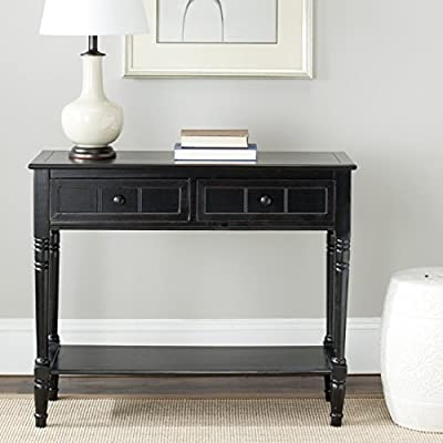 Safavieh American Homes Collection Samantha Vintage Grey 2-Drawer Console Table - The distressed black finish of this console table is sure to update any decor This console table features two drawers measuring 15.2 inches wide by 11 inches deep 4.7 inches high Crafted of solid pine wood - living-room-furniture, living-room, console-tables - 51HdWlQBYdL. SS400  -