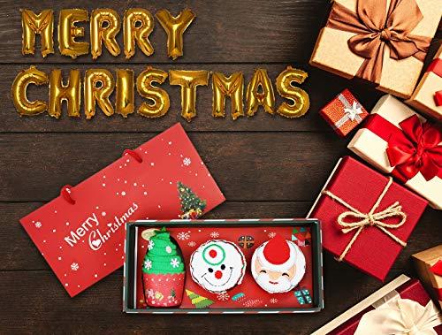 Eloiro Christmas Towel Set Gift with Balloons, 3 Pcs Cupcake Santa Claus Christmas Tree Snowman Design Towel 11.8x11.8