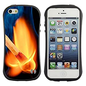 Hybrid Anti-Shock Bumper Case for Apple iPhone 5 5S / Awesome Match On Fire
