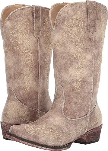 ROPER Womens Vintage Beige Faux Leather Judith Cowboy Boots 8
