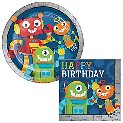 Robot Party Plates & Napkins, Balloons, Table Covers & Invitations