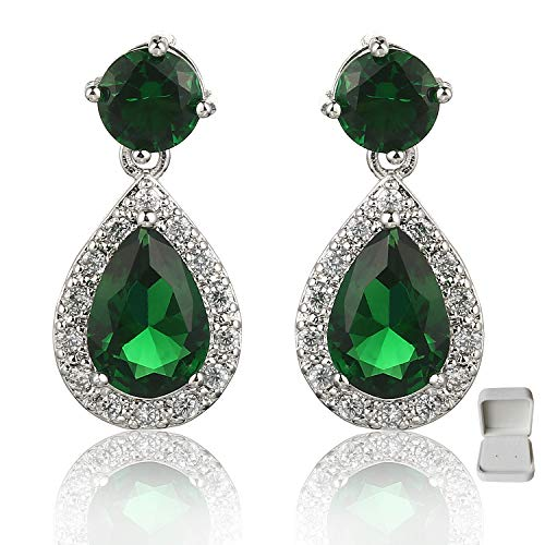 Meyome Teardrop Zirconia Earrings Emerald Color Crystal Wedding Bridal Earrings in Platinum White Gold Plated (Green)