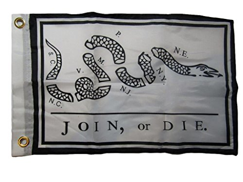 ALBATROS 12 inch x 18 inch Join or Die Gadsden 100% Polyester Motorcycle Boat Flag Grommets for Home and Parades, Official Party, All Weather Indoors Outdoors ()