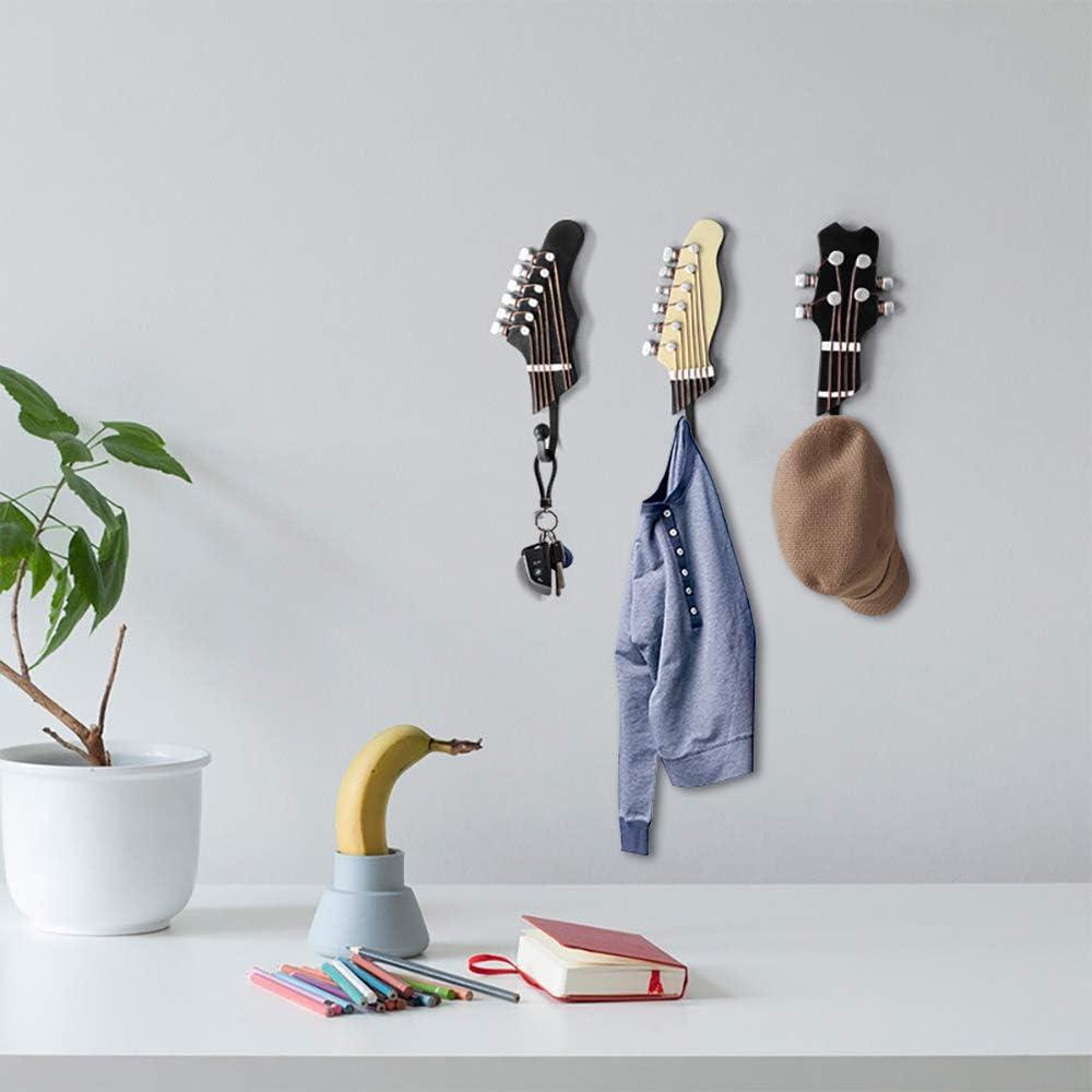 B-Guitar Hooks KUNGYO Juego de 3 Ganchos Decorativos Guitarra Forma Vintage Perchero de Pared para Colgar Sombrero,Abrigos,Teclas,Bolsa,silenciador