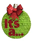 It's a Christmas Gender Reveal Pinata 16'' Red Bow Pull Strings Style
