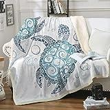 Sleepwish Sea Turtle Fleece Throw Blanket Royal Aqua Blue Abstract Tortoise Blanket Kid Sherpa Blanket Perfect for Couch Sofa or Bed (50' x 60')