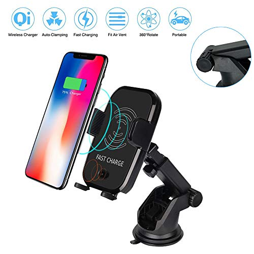 Automatic Sensor - Wireless Fast Car Charger Holder with Automatic Infrared Sensor, Auto-clamping Qi Fast Charger Air Vent Cell Phone Mount for iPhone X/8/8 Plus Samsung Galaxy S9/S9 Plus & Qi Enabled Devices