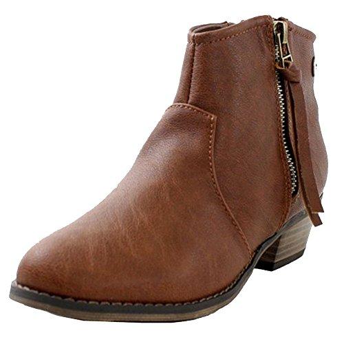 Breckelle's Women's Dorado-11 Western Ankle Boot Tan Pu 6.5