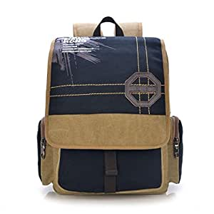 1188lenlinew551 Khaki contrast color unisex double shoulder pack leisure messager bag tote Travel backpack messager bag