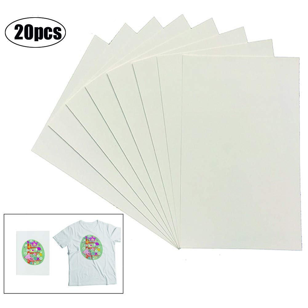 XLhaha 20 Sheets T Shirt Transfer Paper Inkjet Iron On Printable Clothes Transfer Papers for Light Fabrics & Cotton (A4, 210 X 297mm)