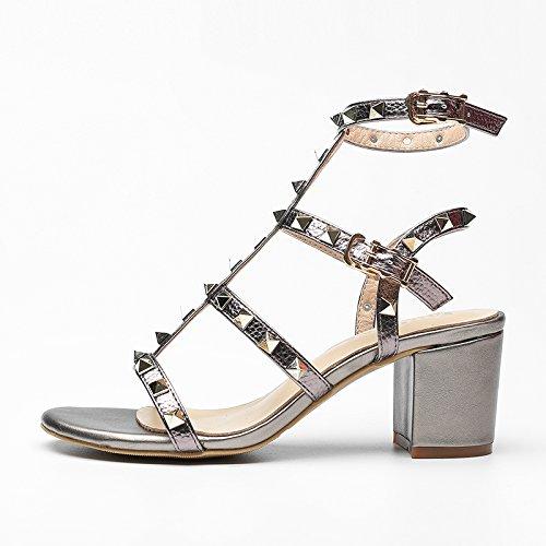 Verano Mujer zapatos de cuero sandalias de verano tacones altos,38 amarillo champagne