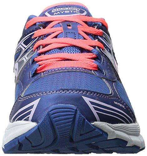 Saucony Mystic - Zapatillas de running para mujer, color azul / coral / fucsia