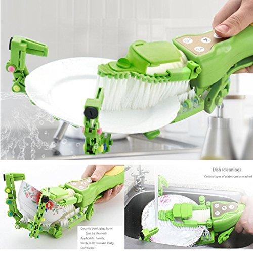 Makaor Handheld Automatic Dish Scrubber Brush Antibacterial Kitchen Dishwasher Brush Kitchen Cleaning Tool Automatic Dish Scrubber Brush (Green, Size:41.8cm x 11.5cm x 7cm) by Makaor (Image #6)