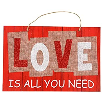 Valentine Day Love Wall Sign Burlap Wooden Plaque Red Planks Home Front Door Hanging Signs for Boyfriend Girlfriend Wedding Party Teacher Wife Husband Mom Dad Parents Gift Special Day Indoor Decor