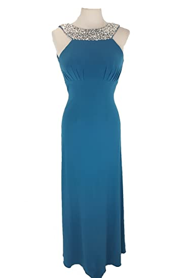 Tiffanys Illusion Prom Teal Chicago Jewelled Evening Gown UK 4 (US 0)