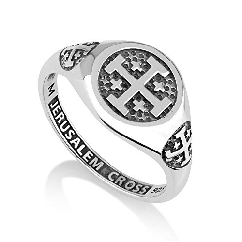 Marina Jewelry 925 Sterling Silver Signet Ring, Womens or Mens, Engraved Jerusalem Cross