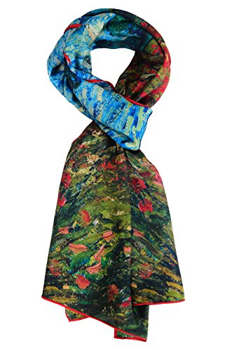 (Salutto Women 100% Silk Scarves Van Gogh Poppies Painted Scarf (16))