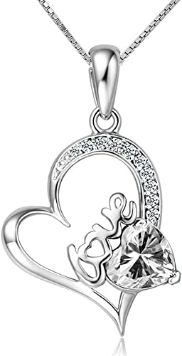 Mom/'s #1 Heart Necklace W// One Genuine Diamond in 14K//925 Gold plated Silver