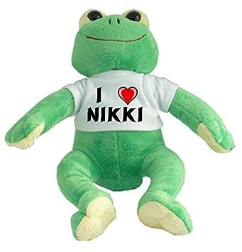 Rana de peluche con Amo Nikki en la camiseta (nombre de pila/apellido/