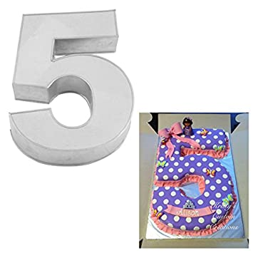 Large Number Five Birthday Wedding Anniversary Cake Tins Pans Mould by Falcon 14 x 10 x 3 Deep