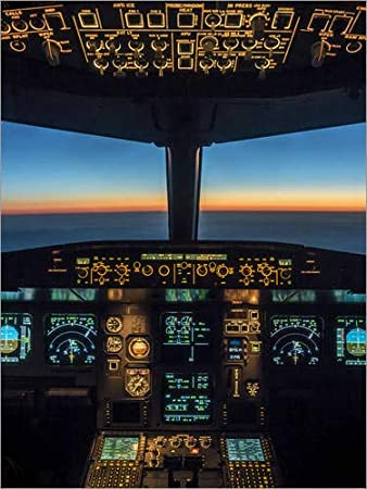 Poster 60 x 80 cm: A320 Cockpit Dämmerung by Ulrich Beinert