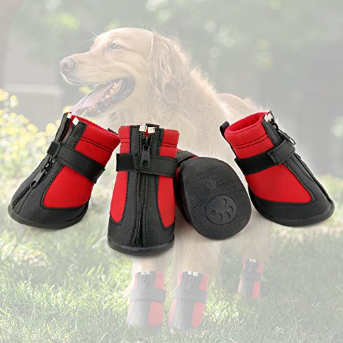 Grand Line Dog Boots Size XXL Waterproof Pet Paw Protector with Wear-resistant and Anti-Slip Sole Set of 4 by Grand Line