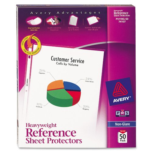 Avery Nonglare Heavyweight Sheet Protectors, Box of 50 (74107)