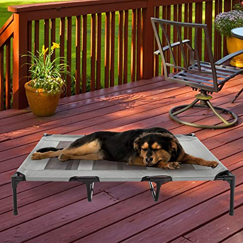 """Petmaker Elevated Pet Bed-Portable Raised Cot-Style Bed W/ Non-Slip Feet, 48""""x 35.5""""x 9"""" for Dogs, Cats, and Small Pets-Indoor/Outdoor Use (Gray)"""