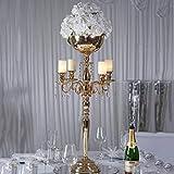 Efavormart 33'' Tall Gold Arm Shiny Metal Candelabra Chandelier Votive Candle Holder Wedding Centerpiece