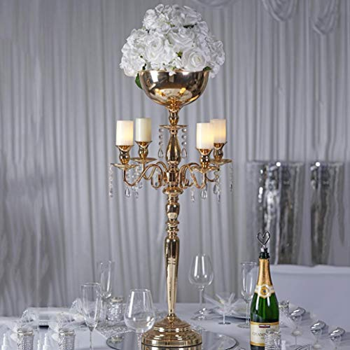 "Efavormart 33"" Tall Gold Arm Shiny Metal Candelabra Chandelier Votive Candle Holder Wedding Centerpiece"