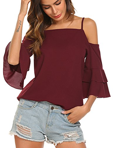 Tobrief Women's Cold Shoulder Bell 3/4 Sleeve Chiffon Blouse Top (XXL, Wine Red)