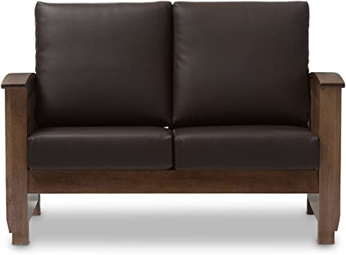 Baxton Studio Charlotte Faux Leather Loveseat in Dark Brown
