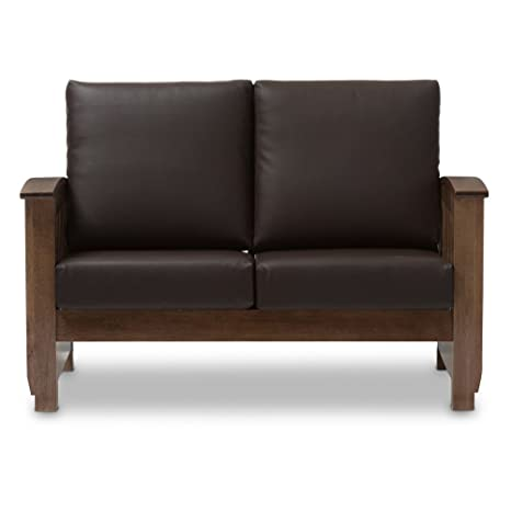 Super Baxton Studio Charlotte Faux Leather Loveseat In Dark Brown Caraccident5 Cool Chair Designs And Ideas Caraccident5Info