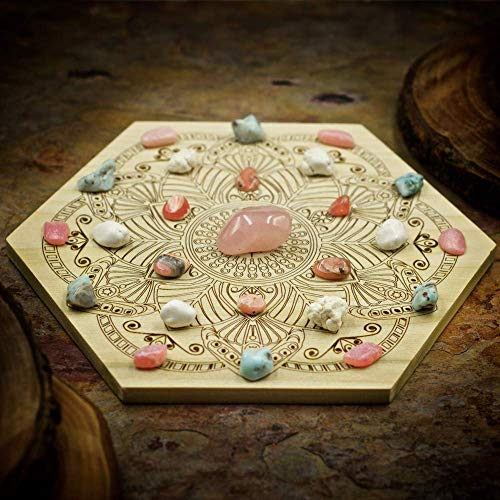 Attract Your Soulmate Mini Crystal Grid Set with Rose Quartz, Rhodochrosite, Magnesite, Pink Opal, Larimar, and 6