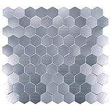 Peel and Stick Aluminum Backsplashes, Brush Metal Hexagon, Set of 5