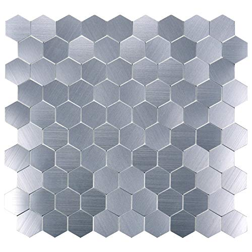 Art3d Peel and Stick Aluminum Backsplashes, Brush Metal Hexagon, Set of 5
