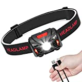 Linkax USB Rechargeable LED Head Torch Headlamp Headlight Super Bright Waterproof Lightweight Comfortable for Running Fishing Camping Hiking Kids
